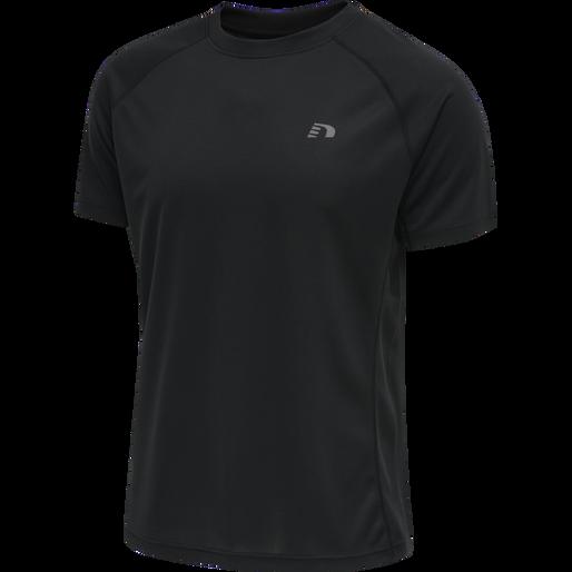 MEN RUNNING T-SHIRT S/S, BLACK, packshot